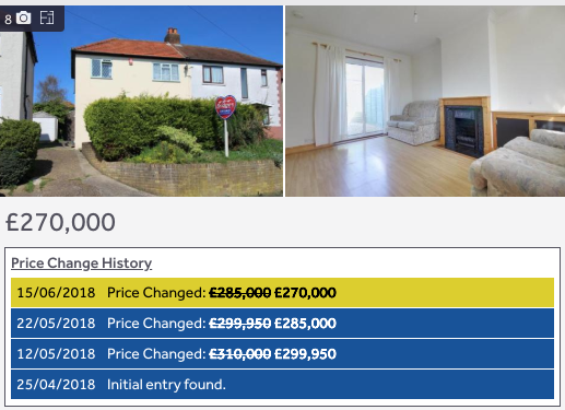 An example of a property viewed on Rightmove with the Property Log extension installed
